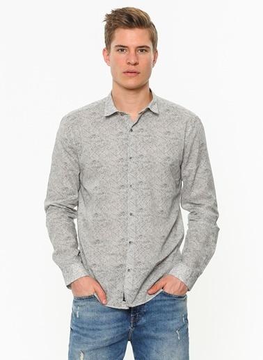 Mavi Desenli Uzun Kollu Gömlek Gri